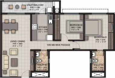 1205 sqft, 2 bhk Apartment in Sobha Rain Forest at Dream Acres Varthur, Bangalore at Rs. 27000