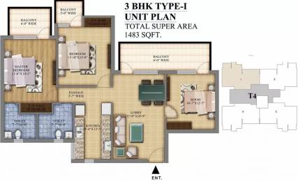 1483 sqft, 3 bhk Apartment in Pareena Mi Casa Sector 68, Gurgaon at Rs. 77.0000 Lacs