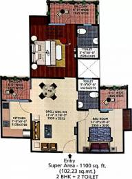 1100 sqft, 2 bhk Apartment in Supertech Eco Village 2 Sector 16B Noida Extension, Greater Noida at Rs. 10500