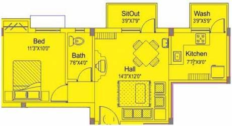 630 sqft, 1 bhk Apartment in AKS Radiance Perumbakkam, Chennai at Rs. 9000