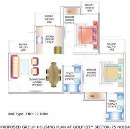950 sqft, 2 bhk Apartment in Gardenia Golf City Sector 75, Noida at Rs. 14000