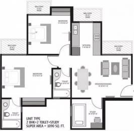 1090 sqft, 2 bhk Apartment in Ajnara Homes121 Sector 121, Noida at Rs. 12000