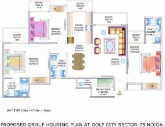 1750 sqft, 3 bhk Apartment in Gardenia Golf City Sector 75, Noida at Rs. 75.0000 Lacs