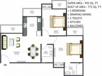 955 sqft, 2 bhk Apartment in Prateek Wisteria Sector 77, Noida at Rs. 55.0000 Lacs
