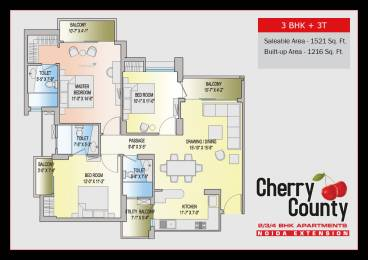1521 sqft, 3 bhk Apartment in ABA Cherry County Techzone 4, Greater Noida at Rs. 68.0000 Lacs