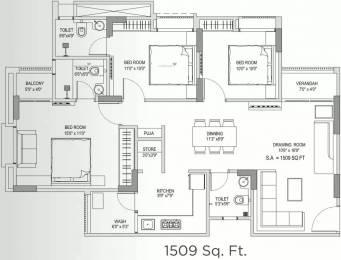 1509 sqft, 3 bhk Apartment in Yash Arian Memnagar, Ahmedabad at Rs. 90.0000 Lacs