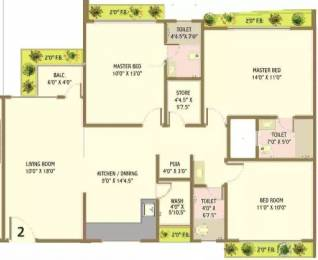 1750 sqft, 3 bhk Apartment in Happy Home Nandanvan III Vesu, Surat at Rs. 70.0000 Lacs