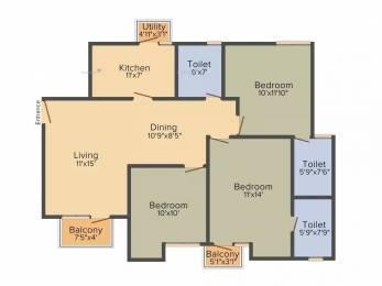 1275 sqft, 3 bhk Apartment in Unitech Uniworld Gardens 2 Sector 47, Gurgaon at Rs. 95.0000 Lacs