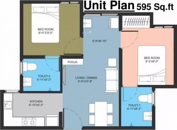 595 sqft, 2 bhk Apartment in Arun Manjari Mevalurkuppam, Chennai at Rs. 9000