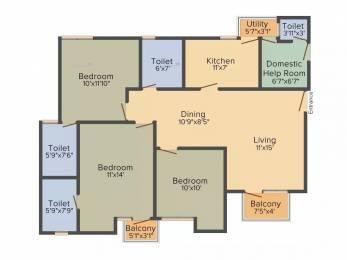 1355 sqft, 3 bhk Apartment in Unitech Uniworld Gardens 2 Sector 47, Gurgaon at Rs. 92.0000 Lacs
