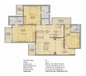 1450 sqft, 3 bhk Apartment in Gaursons 16th Park View Sector 19 Yamuna Expressway, Noida at Rs. 40.0800 Lacs