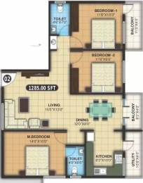 1285 sqft, 3 bhk Apartment in SNR Silver Ripples Sarjapur, Bangalore at Rs. 16000