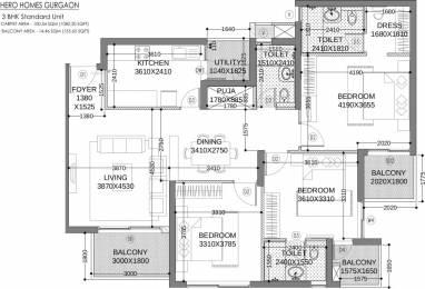 1689 sqft, 3 bhk Apartment in Hero Homes Gurgaon Sector 104, Gurgaon at Rs. 1.0454 Cr