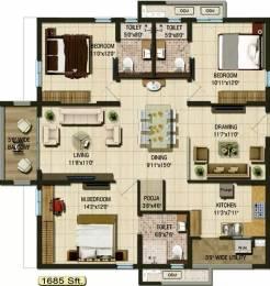 1685 sqft, 3 bhk Apartment in Aparna Cyber Life Nallagandla Gachibowli, Hyderabad at Rs. 1.0400 Cr
