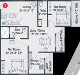 1241 sqft, 2 bhk Apartment in Armsburg My Space Kompally, Hyderabad at Rs. 55.0000 Lacs