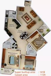 1418 sqft, 3 bhk Apartment in Aratt Vivera Begur, Bangalore at Rs. 58.0000 Lacs