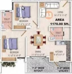 1170 sqft, 2 bhk Apartment in Sandeep Kolimi Heights Ulsoor, Bangalore at Rs. 33000