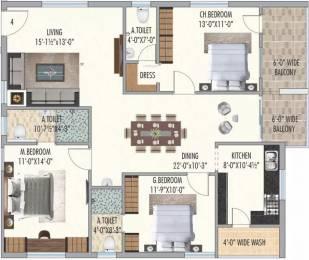 1647 sqft, 3 bhk Apartment in Aryamitra Bay Hills Narsingi, Hyderabad at Rs. 60.9390 Lacs