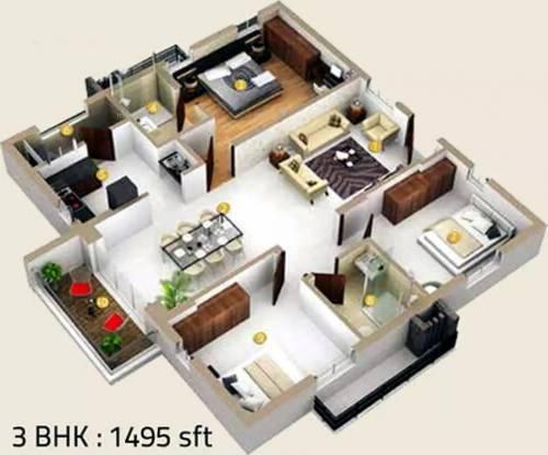 1495 sqft, 3 bhk Apartment in Honer Vivantis Gopanpally, Hyderabad at Rs. 70.2650 Lacs