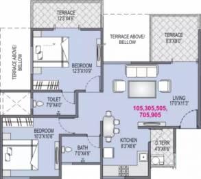 1031 sqft, 2 bhk Apartment in Yash Platinum Dhayari, Pune at Rs. 12000