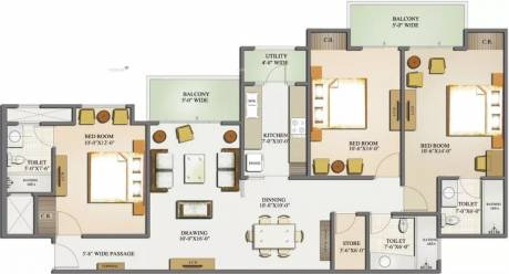 1550 sqft, 3 bhk Apartment in Mahagun Moderne Sector 78, Noida at Rs. 25000