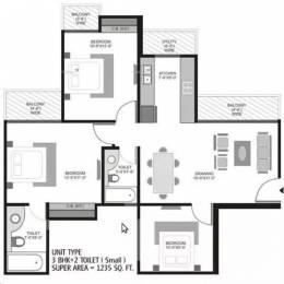 1235 sqft, 3 bhk Apartment in Ajnara Homes121 Sector 121, Noida at Rs. 18000
