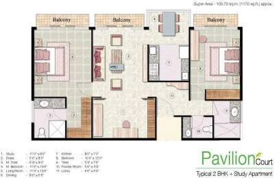 1170 sqft, 2 bhk Apartment in Jaypee The Pavilion Court Sector 128, Noida at Rs. 18000