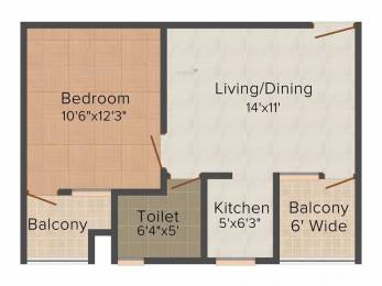 700 sqft, 1 bhk Apartment in SBP Southcity VIP Rd, Zirakpur at Rs. 12000