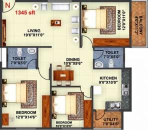 1345 sqft, 3 bhk Apartment in Akshaya Regalia Subramanyapura, Bangalore at Rs. 50.0000 Lacs