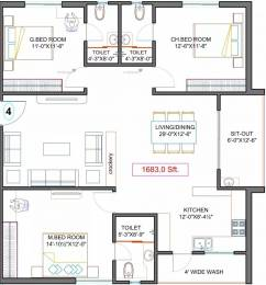 1683 sqft, 3 bhk Apartment in Fortune Green Golden Oriole Manikonda, Hyderabad at Rs. 70.6860 Lacs