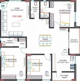 1767 sqft, 3 bhk Apartment in Fortune Green Golden Oriole Manikonda, Hyderabad at Rs. 74.2140 Lacs