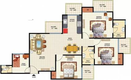 1540 sqft, 3 bhk Apartment in Amrapali Princely Estate Sector 76, Noida at Rs. 1.0000 Cr