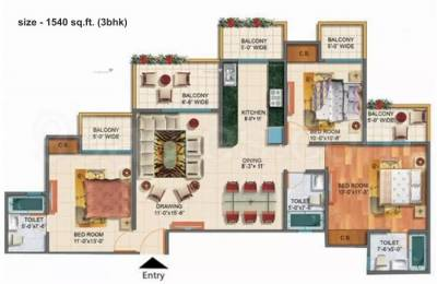 1540 sqft, 3 bhk Apartment in Rudra Palace Heights Sector 1 Noida Extension, Greater Noida at Rs. 52.2060 Lacs