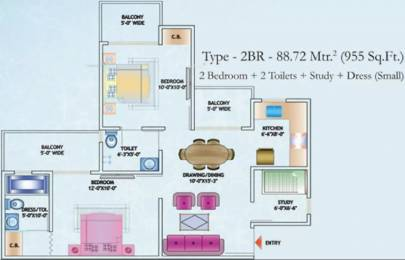 955 sqft, 2 bhk Apartment in Nirala Estate II Techzone 4, Greater Noida at Rs. 8000
