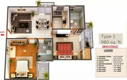 980 sqft, 2 bhk Apartment in Proview Officer City Raj Nagar Extension, Ghaziabad at Rs. 7500