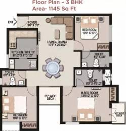 1145 sqft, 3 bhk Apartment in Mantri Navaratna Chromepet, Chennai at Rs. 17500