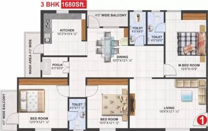 1680 sqft, 3 bhk Apartment in Utkarsha Abodes Madhurawada, Visakhapatnam at Rs. 55.0000 Lacs