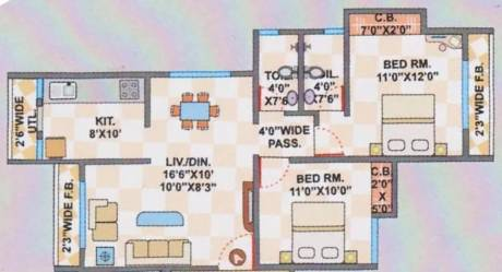 912 sqft, 2 bhk Apartment in Cosmos Jewels Thane West, Mumbai at Rs. 98.0000 Lacs