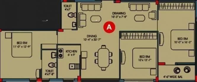 1473 sqft, 3 bhk Apartment in Goldwin Jubilee Residency Dum Dum, Kolkata at Rs. 55.0000 Lacs