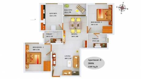1105 sqft, 2 bhk Apartment in Builder Project Kazhakkoottam, Trivandrum at Rs. 50.5620 Lacs