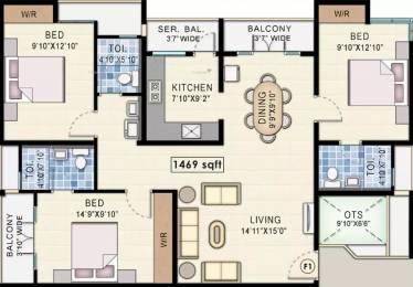 1469 sqft, 3 bhk Apartment in Navin Starwood Towers 2 Vengaivasal, Chennai at Rs. 80.0000 Lacs