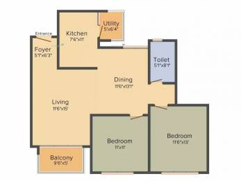 1178 sqft, 2 bhk Apartment in Godrej Eternity Kanakapura Road Beyond Nice Ring Road, Bangalore at Rs. 80.0000 Lacs