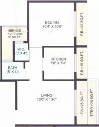 710 sqft, 1 bhk Apartment in Krishna Heights Ghansoli, Mumbai at Rs. 78.0000 Lacs