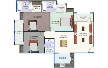 1475 sqft, 3 bhk Apartment in Revanta Heights Chhawla, Delhi at Rs. 46.4625 Lacs