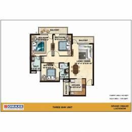 1450 sqft, 3 bhk Apartment in Omaxe Grand Gomti Nagar Extension, Lucknow at Rs. 46.4000 Lacs