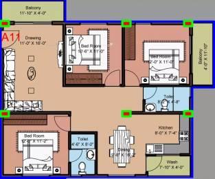 1370 sqft, 3 bhk Apartment in Hilife Triflora Varthur, Bangalore at Rs. 22000