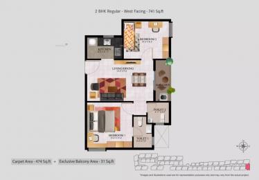 741 sqft, 2 bhk Apartment in Alliance Jasmine Springs Kelambakkam, Chennai at Rs. 28.0000 Lacs