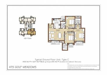 1350 sqft, 3 bhk Apartment in ATS Golf Meadows Lifestyle Ashiana Colony, Dera Bassi at Rs. 40.0000 Lacs