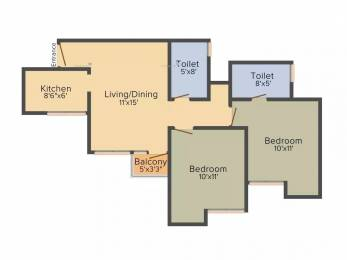 850 sqft, 2 bhk Apartment in Jaypee Kosmos Sector 134, Noida at Rs. 15000