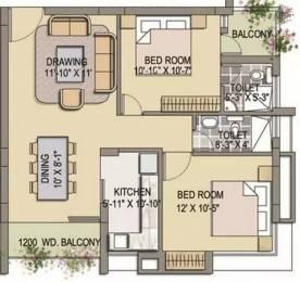 1010 sqft, 2 bhk Apartment in Saltee Spacio Dum Dum, Kolkata at Rs. 23000